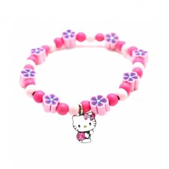 Hello Kitty - Bracelet bois et gomme