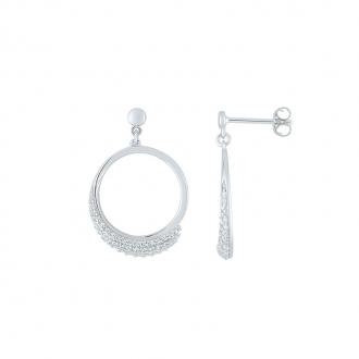 Boucles d'oreilles Carador Argent 925/000 cercles ornés d'oxydes de zirconium