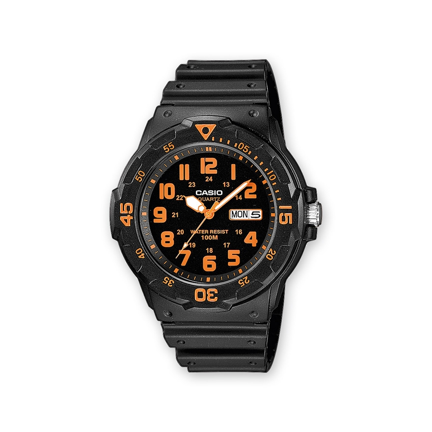 montre casio collection noire et orange mrw 200h 4bvef pour homme. Black Bedroom Furniture Sets. Home Design Ideas