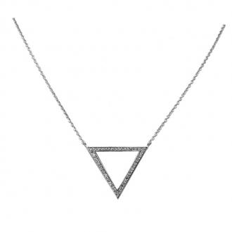 Collier Silver Pop Triangle Oxydes de Zirconium