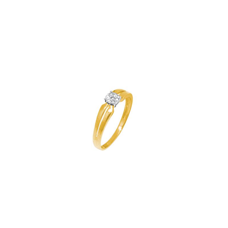 Solitaire fantaisie Carador Diamant 0,05 cts et Or bicolore 375/000