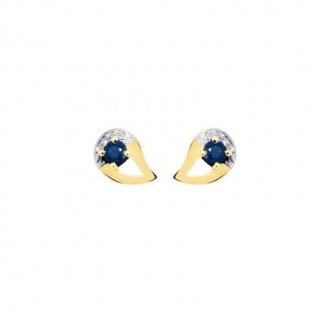 Boucles d'oreilles Carador Larme Deux ors 375/000 Saphir