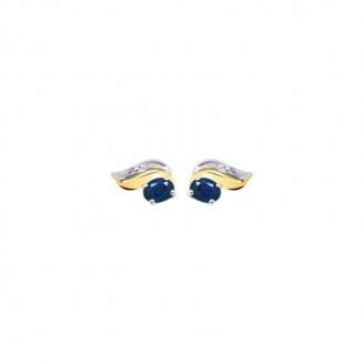 Boucles d'oreilles Carador Deux ors 375/000 et Saphir