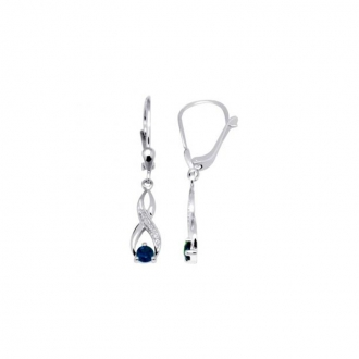 Boucles d'oreilles Carador pendantes or blanc 375/000 Saphir
