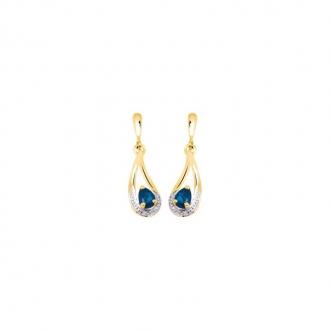 Boucles d'oreilles Carador pendantes or jaune 375/000 et saphir