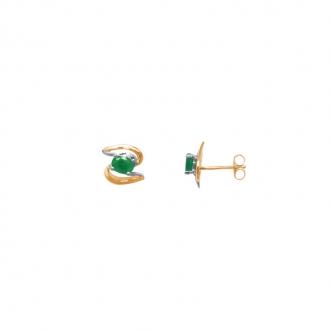 Boucles d'oreilles Carador Or bicolore 375/000 et émeraude