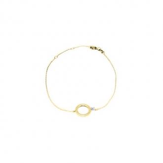 Bracelet Carador or jaune 375/000e fantaisie et Oxyde de zirconium