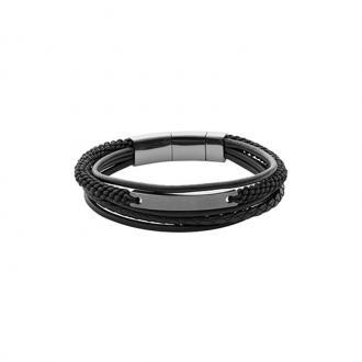 Bracelet Fossil Vintage Casual Multi-rangs noir et plaque acier JF02378793