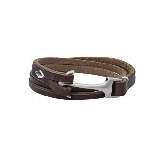 Bracelet Fossil Vintage casual cuir marron, femoir ancre JF02205040