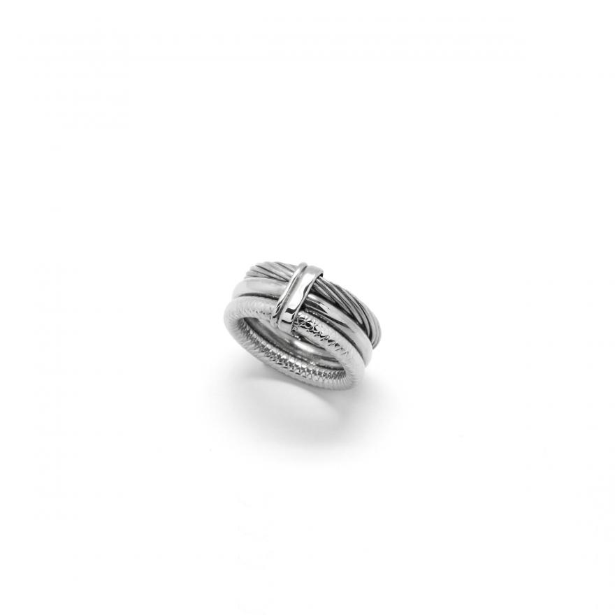 bague amporelle trois anneaux en acier sr596 n 58 pour femme. Black Bedroom Furniture Sets. Home Design Ideas
