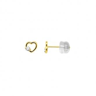Boucles d'oreilles Carador cœur en or jaune 375/000 et oxyde de zirconium
