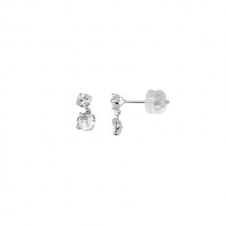 boucles d'oreilles Carador pendantes or blanc 375/000 et oxydes de zirconium