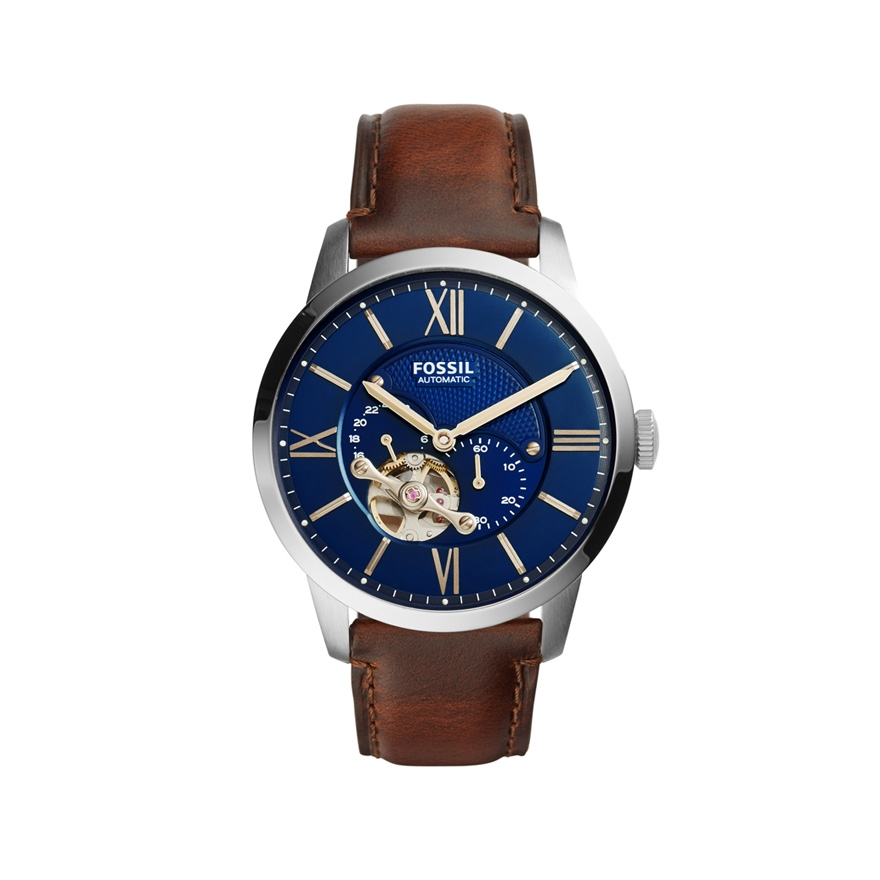 montre fossil automatic marron cadran bleu nuit me3110 pour homme. Black Bedroom Furniture Sets. Home Design Ideas