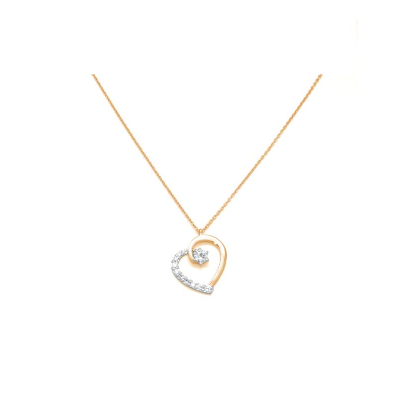 a9161157e437c Collier Carador Chaine et pendentif cœur or jaune 375/000 et oxydes de  zirconium