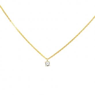 Collier Carador en or jaune 375/000 et oxyde de zirconium