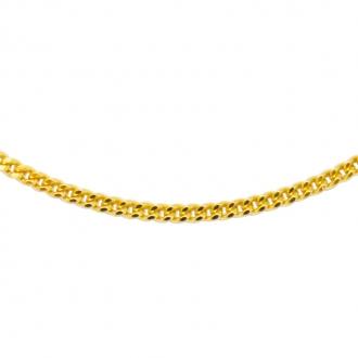 Collier Carador en or jaune 375/000 maille gourmette diamantée, 45 cm