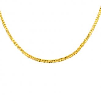 Collier Carador en or jaune 375/000 maille gourmette diamantée, 40 cm