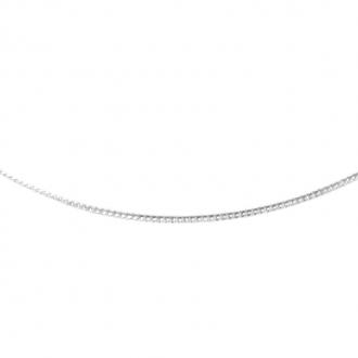 Chaine Carador en or blanc 375/000 maille gourmette diamantée, 40 cm