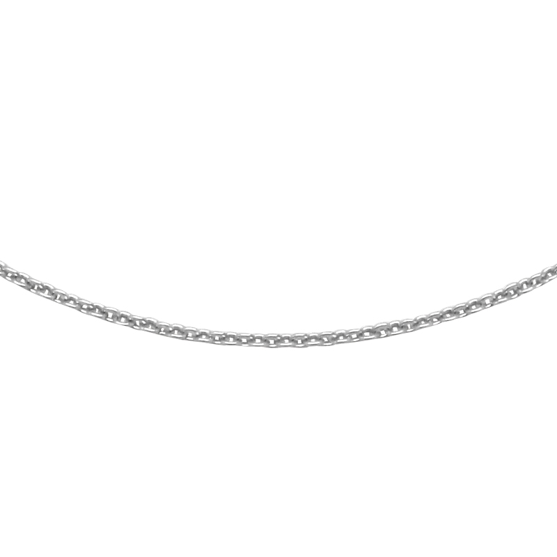 Chaine Carador or blanc 375/000 maille forçat limée, 40 cm