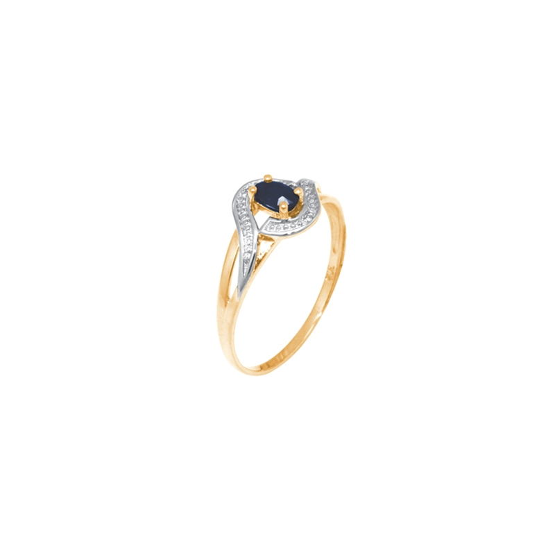 Bague Carador vintage or jaune 375/000, diamant et saphir