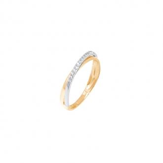 Alliance Carador anneaux croisés or jaune et blanc 375/000 et oxydes de zirconium