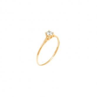 Bague Carador Solitaire 6 griffes or jaune 375/000 et oxyde de zirconium