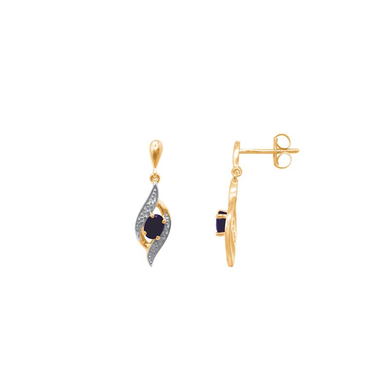 boucles d'oreilles pendantes or et saphir