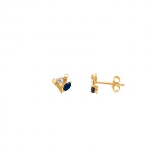 Boucles d'oreilles Carador classique en or jaune 375/000, saphir et oxyde de zirconium