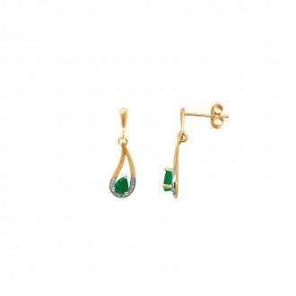 Boucles d'oreilles Carador pendantes classiques or jaune 375/000, émeraude 0,40 cts et diamant