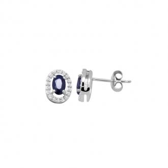 Boucles d'oreilles Carador classique or blanc 375/000 , saphir et diamant