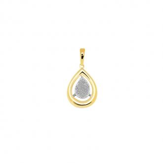 Pendentif Carador goutte or jaune et blanc 375/000 et diamants 0,08 cts