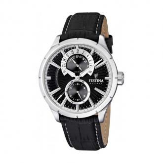 Montre Festina multifonction homme acier et cuir noir F16573/3