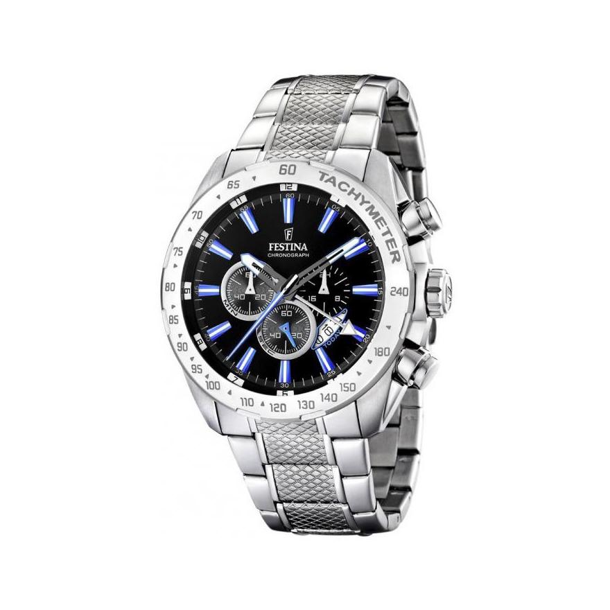 Montre Festina Chronograph homme acier chromé, index bleu F16488 3 pour 3cf400dd4038