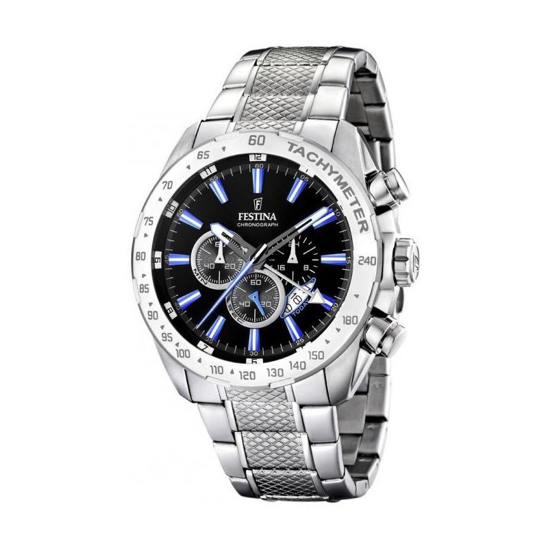 Montre Festina Chronograph homme acier chromé, index bleu F164883