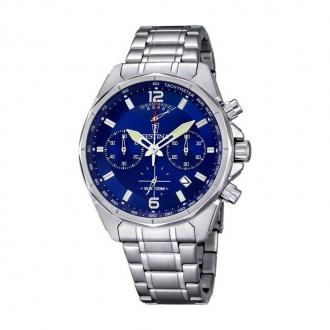 Montre Festina chronomètre homme acier chromé, cadran reflet bleu F6835/3