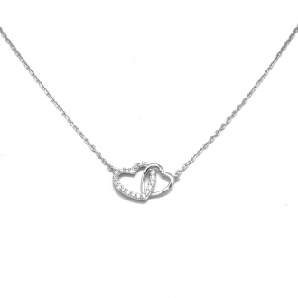 Collier Carador double cœur Collection Instant de vie Argent 925/000