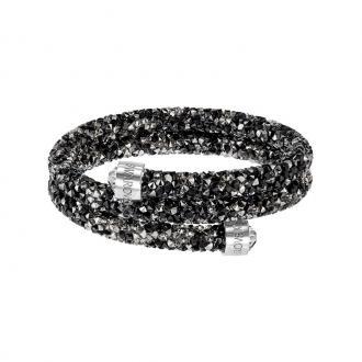 Bracelet jonc double Swarovski Crystaldust noir et gris 5237757