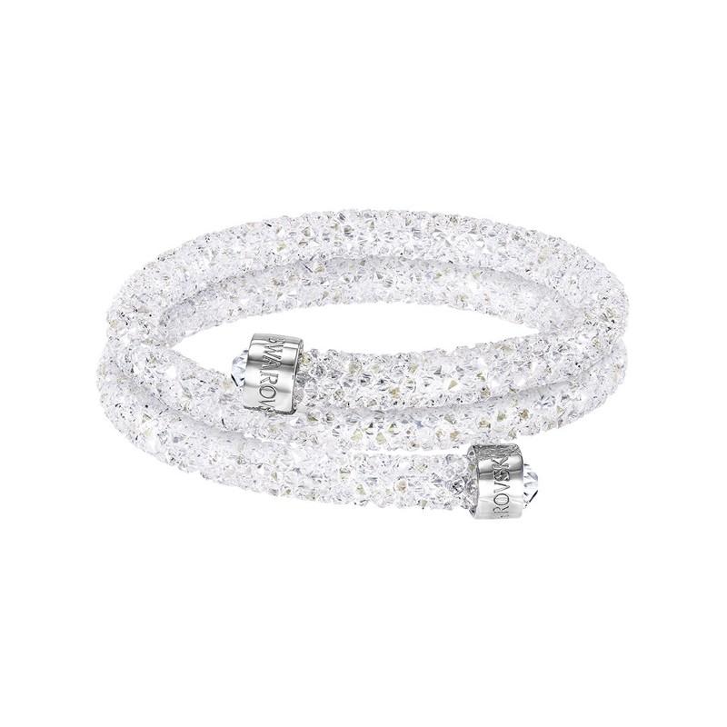 Bracelet jonc double Swarovski Crystaldust blanc 5255900