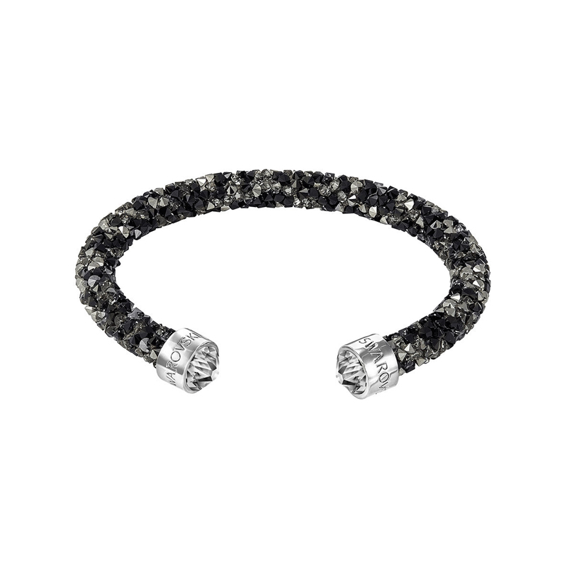 Bracelet jonc ouvert Swarovski Crystaldust noir et gris 5255902
