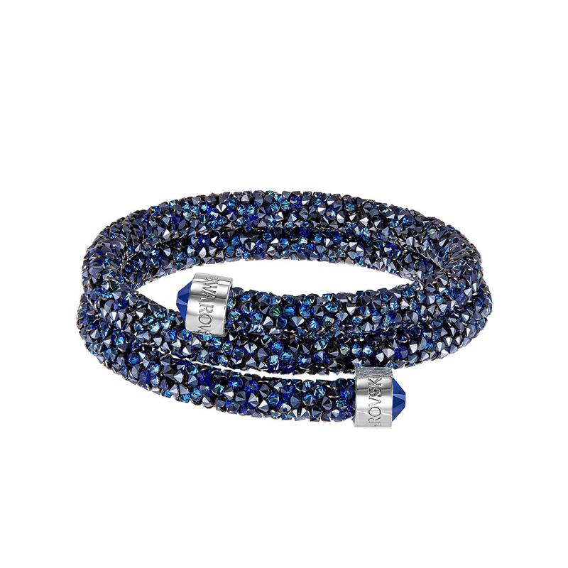 Bracelet jonc double Swarovski Crystaldust bleu 52559083