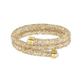 Bracelet jonc double Swarovski Crystaldust doré 5255907