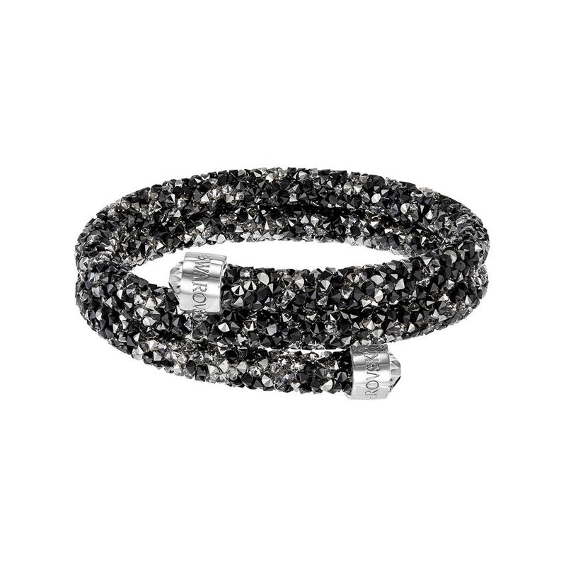 Bracelet jonc double Swarovski Crystaldust noir et gris 5255909