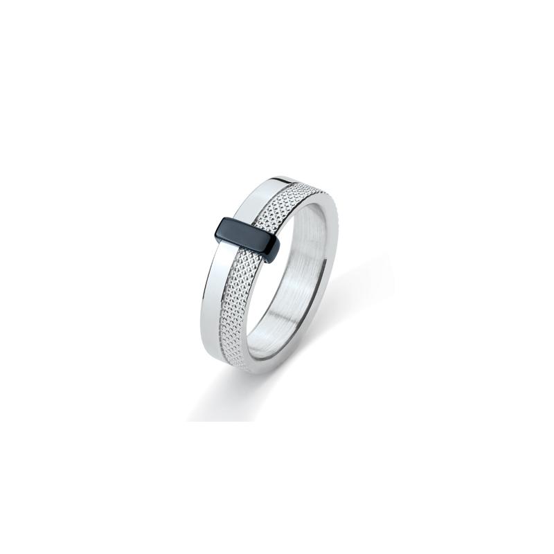 Bague Phebus anneau acier et céramique 15-0292-N