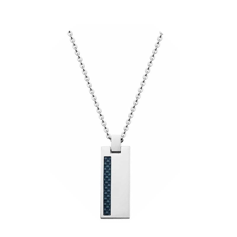 7652b3ab783 Collier Phebus chaine acier avec plaque acier et carbone 72-0053-N pour