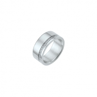 Bague Phebus anneau acier et carbone blanc 15-0293-B