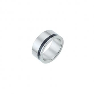 Bague Phebus anneau acier et carbone noir 15-0293-N