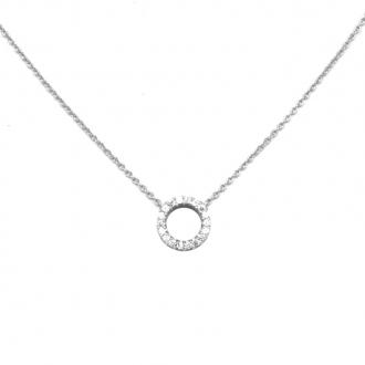 Collier Carador fantaisie cercle en argent 925/000 et oxydes de zirconium