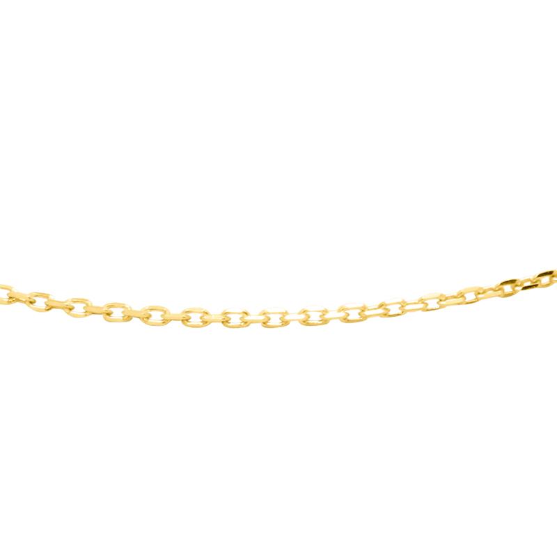Chaine Carador maille forçat diamantée 0,1 mm en or jaune 375/000, longueur 50 mm
