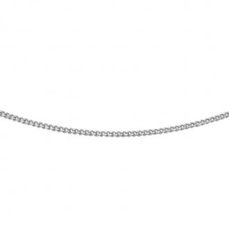 Chaine Carador maille forçat diamantée 0,09 mm en or blanc 375/000, longueur 45 cm