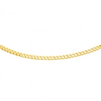 Chaine Carador maille gourmette diamantée 0,8 mm en or jaune 375/000, longueur 45 cm
